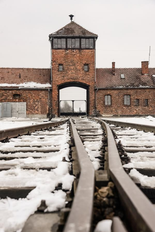 Oswiecim/Polonia - 02 15 2018: Entrada del carril al campo de concentración en Auschwitz Birkenau Punto de la llegada del tren fotografía de archivo