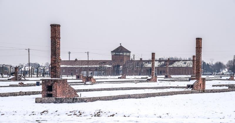 Oswiecim/Polonia - 02 15 2018: Opinión general sobre el campo de concentración en Auschwitz Birkenau foto de archivo