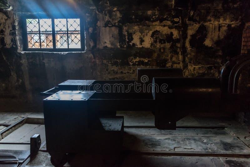 Oswiencim,波兰- 2019年9月21日:在奥斯威辛ii比克瑙德国纳粹集中营的火葬场和 免版税库存照片