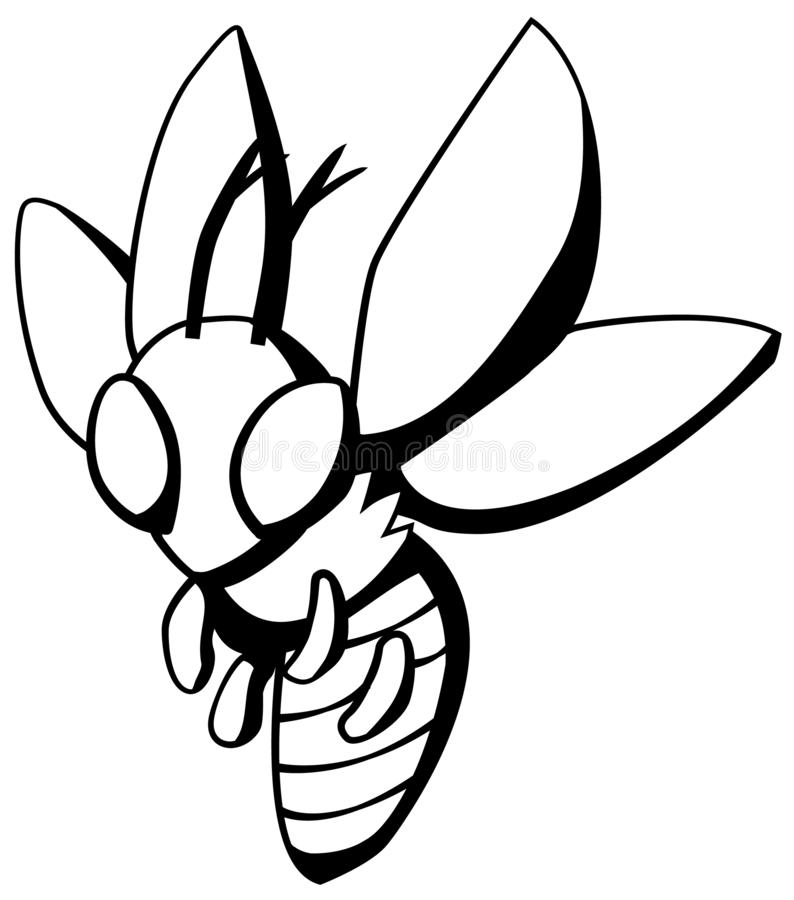 Osy komarnicy kreskówki Kreskowy rysunek ilustracja wektor