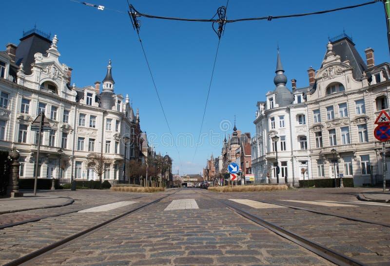 Osylei gata i Antwerpen, Belgien arkivbilder