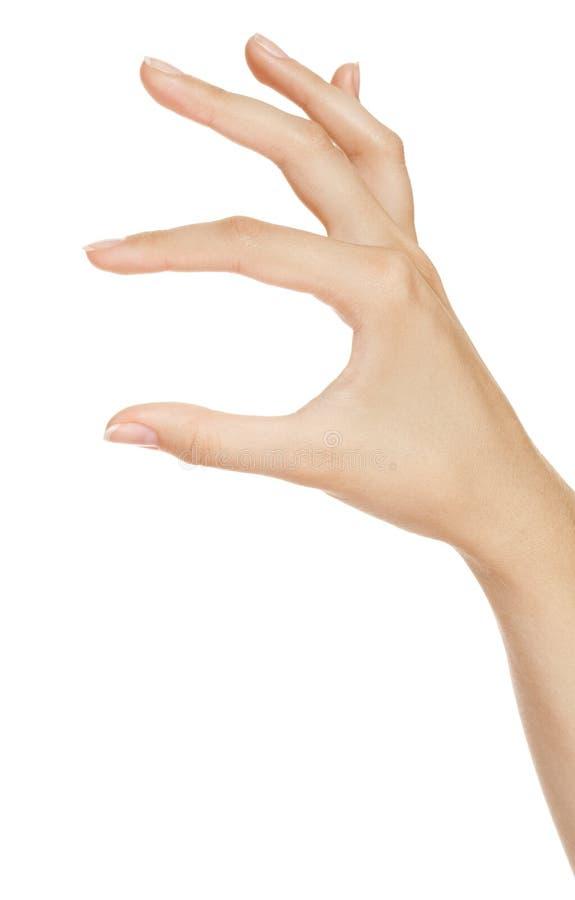 osynliga objekt för hand som mäter kvinnan royaltyfri foto