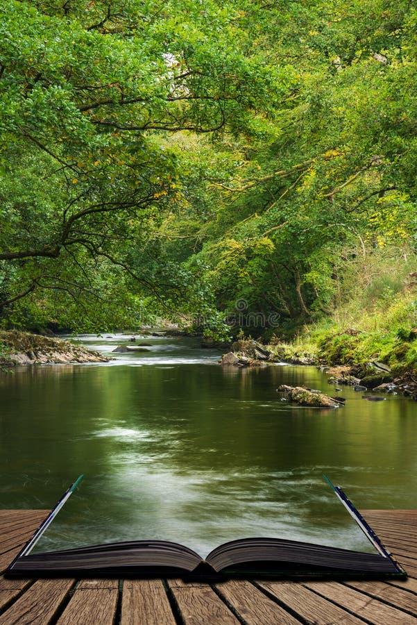Oszałamiająco bujny zieleni riverbank z rzecznym spływaniem wolno za spokój krajobrazowymi wynika stronami otwarta opowieści ksią zdjęcie stock