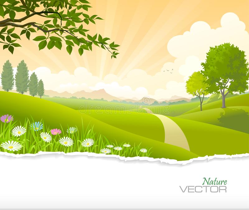 Oszałamiająca scena ścieżka iść przez zieleni poly w kierunku wzgórzy ilustracji