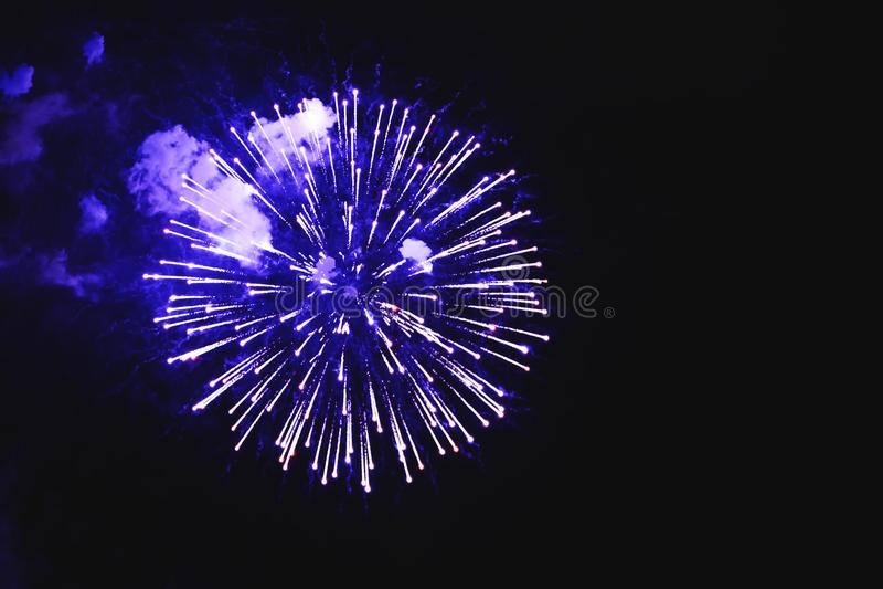 Oszałamiająco fajerwerku błękit kwitnie na nocnym niebie Jaskrawy firew fotografia royalty free