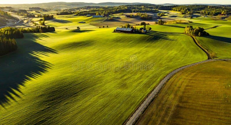 Oszałamiająco gospodarstwo rolne krajobraz przy wschodem słońca obrazy royalty free