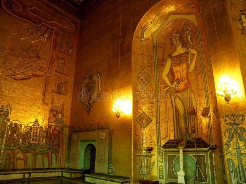 Oszałamiająco Greckiej bogini Pozłociste mozaiki w Złotym Hall Sztokholm urząd miasta, Szwecja zdjęcie royalty free