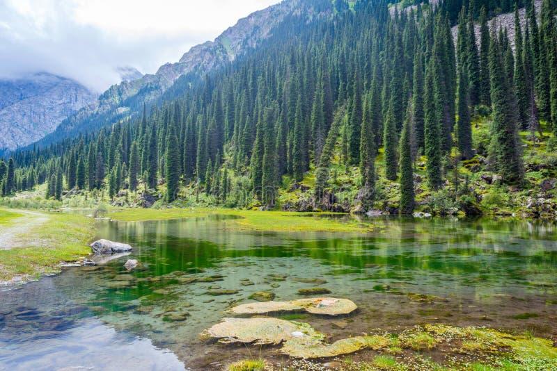 Oszałamiająco jezioro krajobraz Karakolu park narodowy, Kirgistan zdjęcia stock