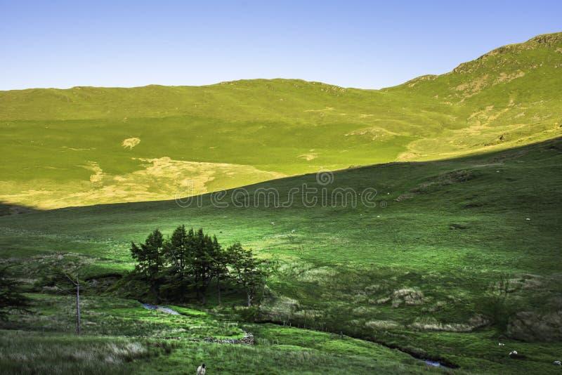 Oszałamiająco krajobraz Jeziorny Gromadzki park narodowy, Cumbria, UK fotografia stock
