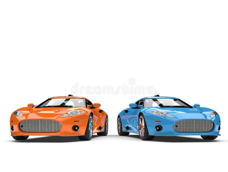 Oszałamiająco pomarańcze i błękitni nowożytni super sportów samochody obok - strona - strona - ilustracja wektor