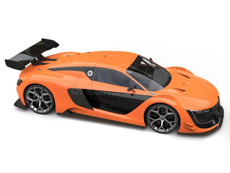 Oszałamiająco sporta samochód odgórny widok - siły woli pomarańcze i czerń kolory - royalty ilustracja