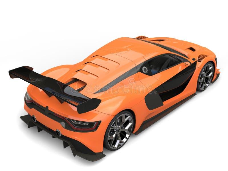 Oszałamiająco sporta samochód tylny widok - siły woli pomarańcze i czerń kolory - royalty ilustracja