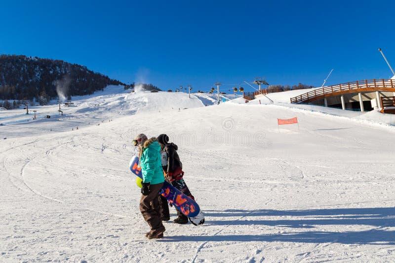 Oszałamiająco widok narciarstwo kurort w Alps Livigno, Włochy zdjęcia stock