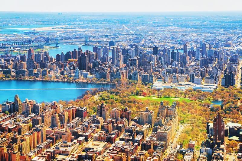 Oszałamiająco widok z lotu ptaka na Manhattan nd central park fotografia royalty free