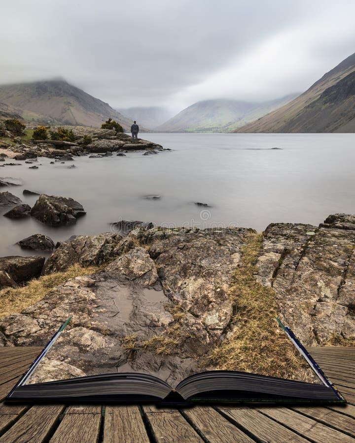 Osza?amiaj?co d?ugi ujawnienie krajobrazu wizerunek Wast woda w UK Jeziornym okr?gu wynika strony w opowie?ci ksi??ce obrazy royalty free