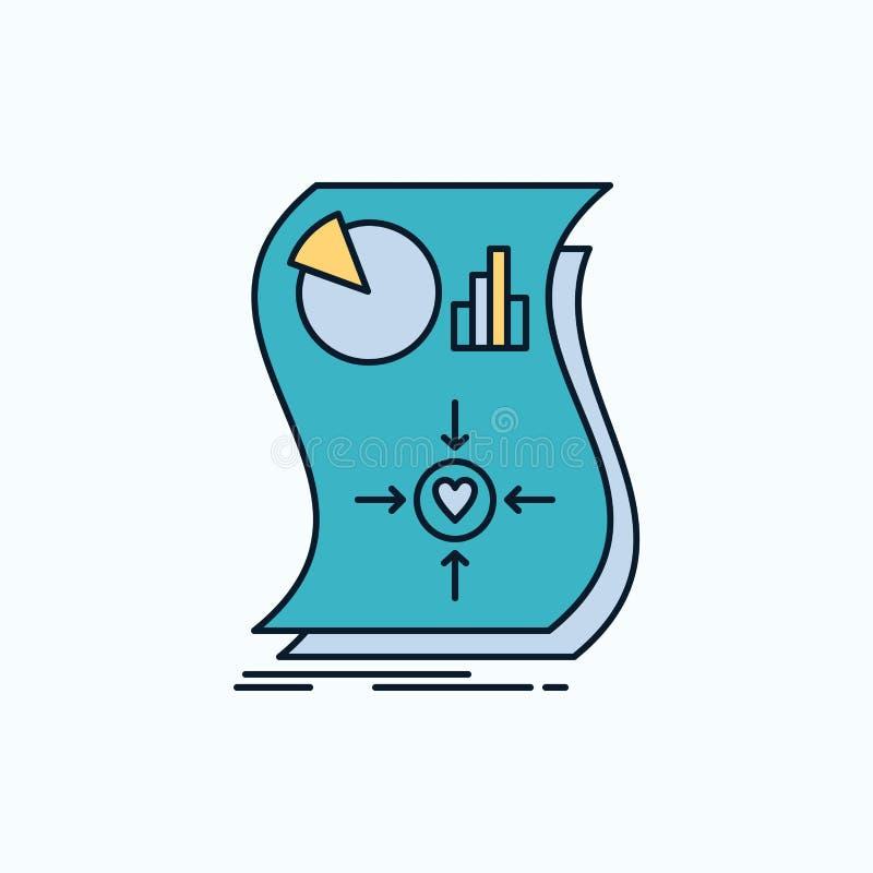 Oszacowanie, miłość, związek, odpowiedź, wyczulona Płaska ikona zieleń, kolorów żółtych symbole dla i znak strony internetowej i  royalty ilustracja