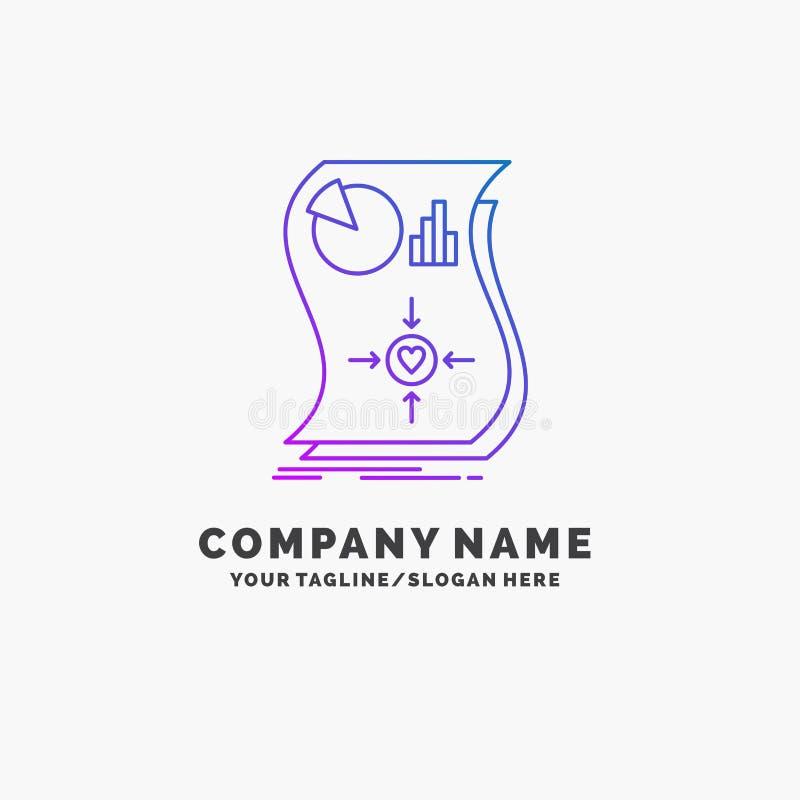 Oszacowanie, miłość, związek, odpowiedź, wyczulony Purpurowy Biznesowy logo szablon Miejsce dla Tagline ilustracja wektor