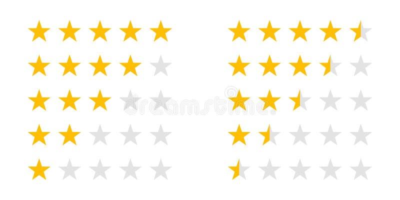 Oszacowywający gwiazdy 5 oszacowywają przeglądową wektorową sieć rankingu gwiazdę royalty ilustracja