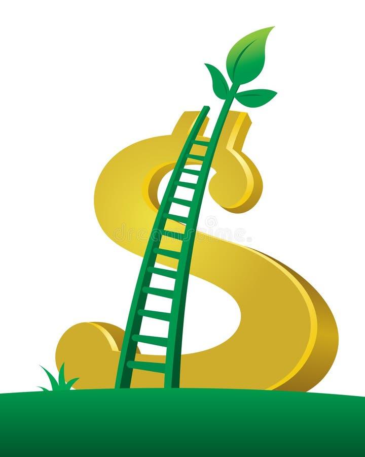 oszczędzania dolarowy drabinowy drzewo ilustracja wektor