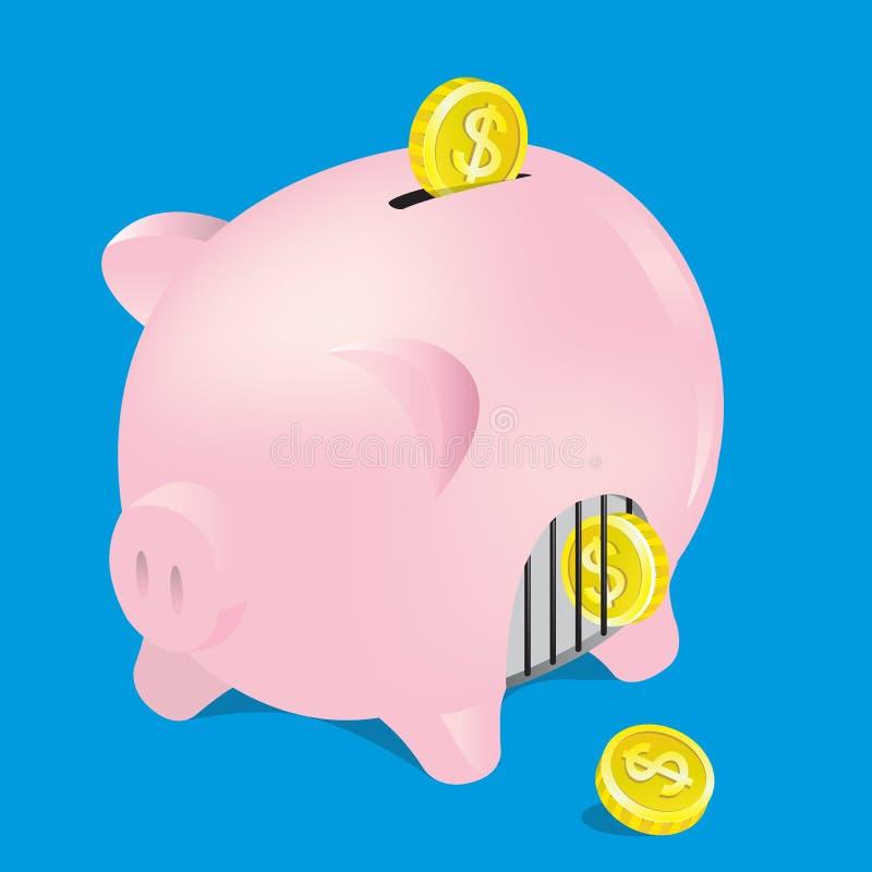 Oszczędzania prosiątko z monetą, wektor, ilustrator fotografia royalty free