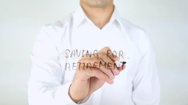 Oszczędzanie Dla emerytura, mężczyzna Writing na szkle obrazy royalty free