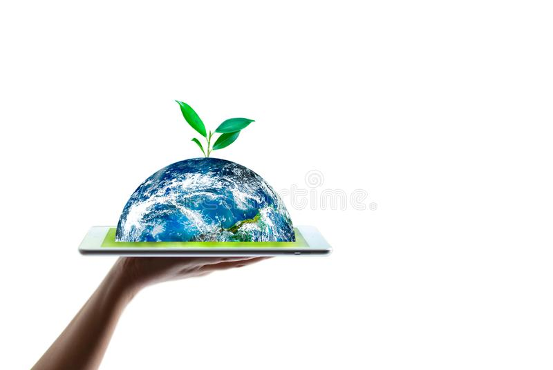 Oszczędzanie ekologii światowy pojęcie Elementy ten wizerunek mebluj?cy NASA obraz royalty free