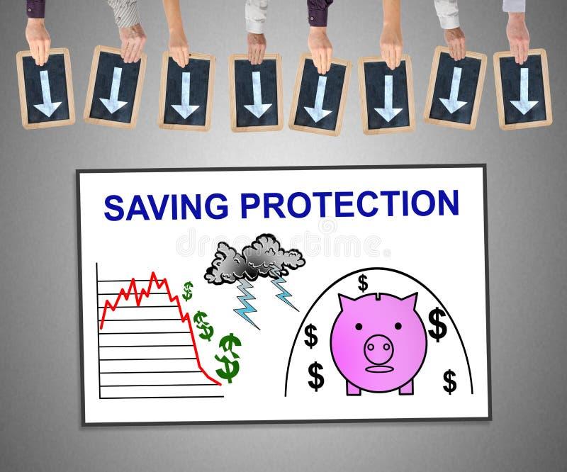 Oszczędzanie ochrony pojęcie na whiteboard fotografia royalty free