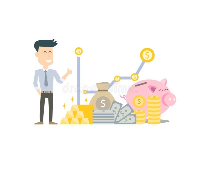 Oszczędzanie pieniądze dla stabilności życie i przyszłości Pieniężny wolność początek z oszczędzaniami ilustracji