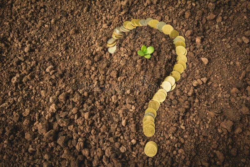 Oszczędzanie pieniądze pojęcie i pieniądze moneta kształtujemy znaka zapytania zdjęcia royalty free