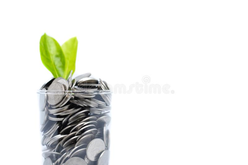 Oszczędzanie pieniądze w szkle dla twój inwestorskiego przyszłościowego przyzwyczajenia jest simi zdjęcia stock