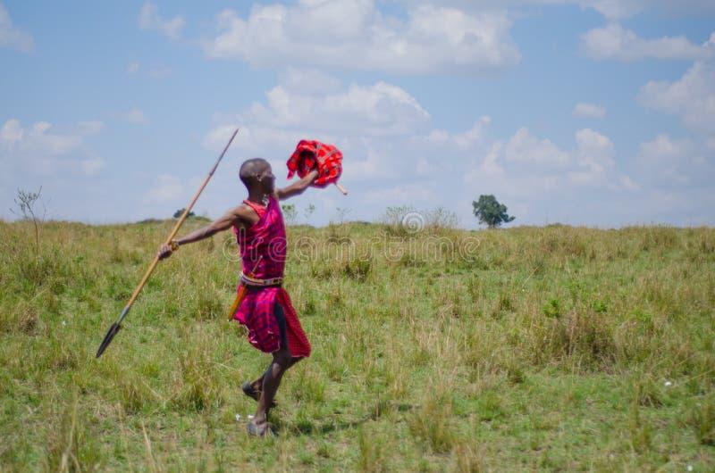 Oszczepowy rzuca Maasai mężczyzna obraz royalty free