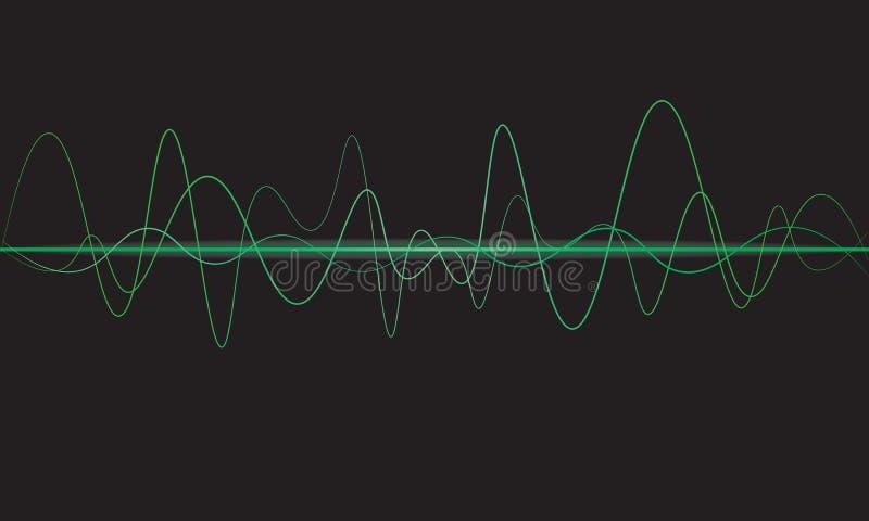 Oszillierendes Glühen der Schallwellen beleuchtet, abstraktes Technologie backgrou vektor abbildung