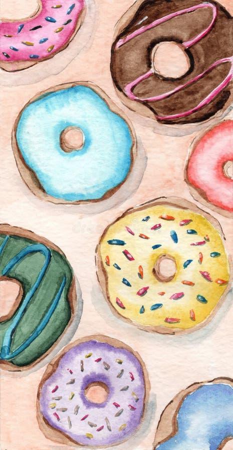 Oszkleni donuts różna smak akwareli prezenta karta obraz royalty free