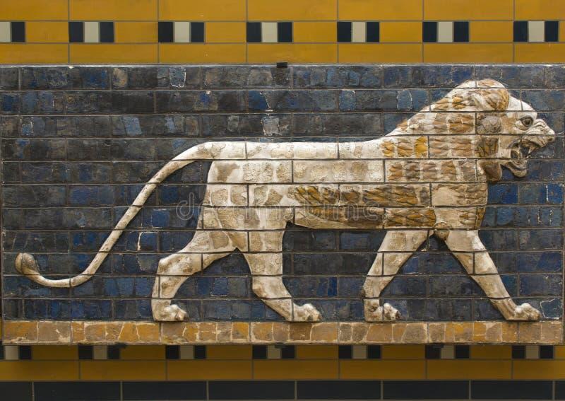 Oszklony ceglany lew od korowód ulicy, Babylon fotografia stock