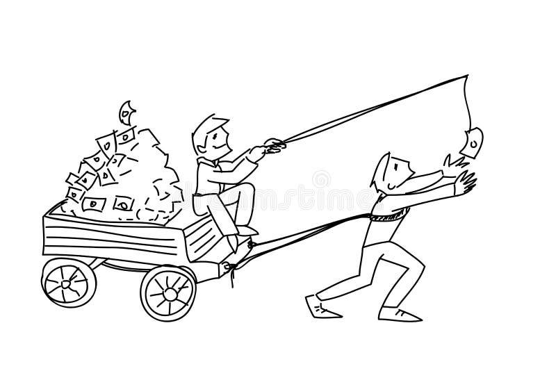 Oszustwo pieniądze motywacji doodle wektorowy ilustracyjny nakreślenie royalty ilustracja