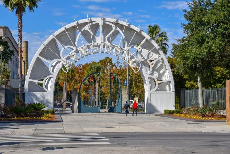 Ot de la entrada el parque de Armstrong en NOLA fotografía de archivo libre de regalías