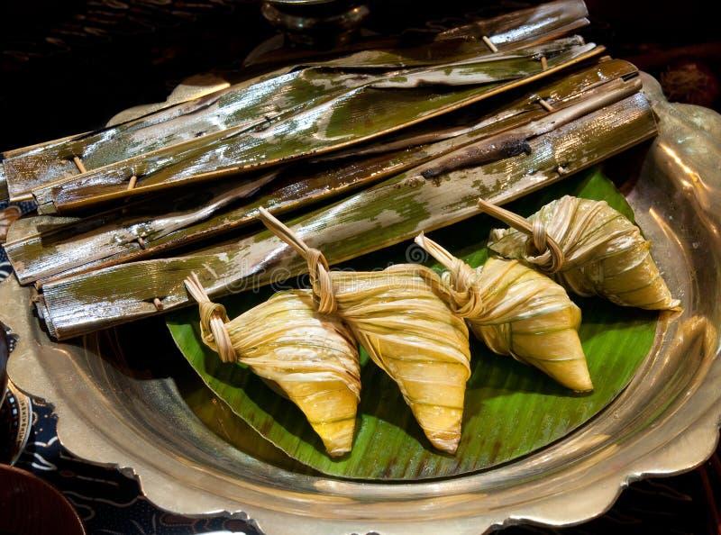 Otah en Ketupat stock afbeeldingen