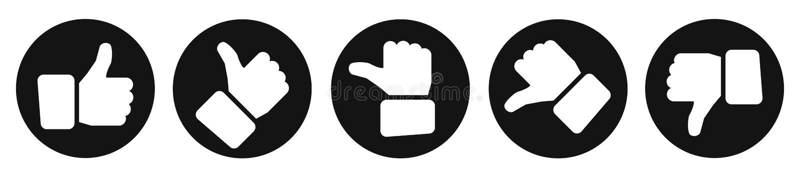 Otaksowanie kciuki, czerń guziki - wektor ilustracja wektor