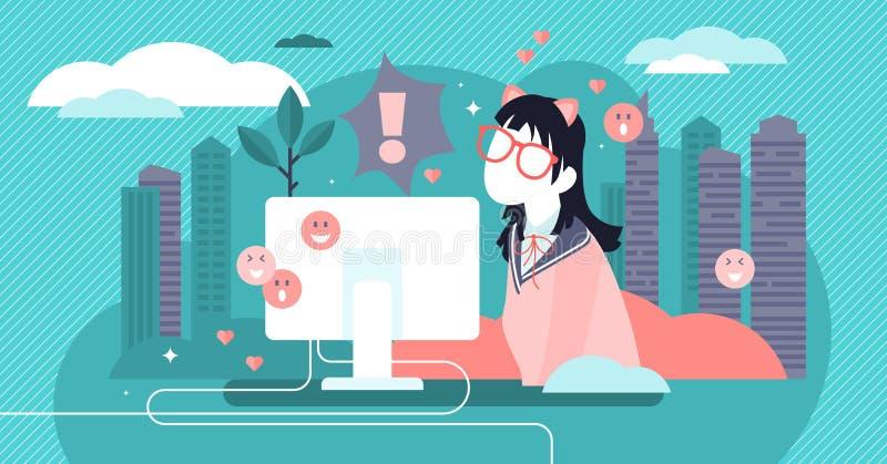 Otaku vector illustration. Flat tiny anime and manga hobby persons concept. Otaku vector illustration. Flat tiny anime, emoji or manga hobby person concept royalty free illustration