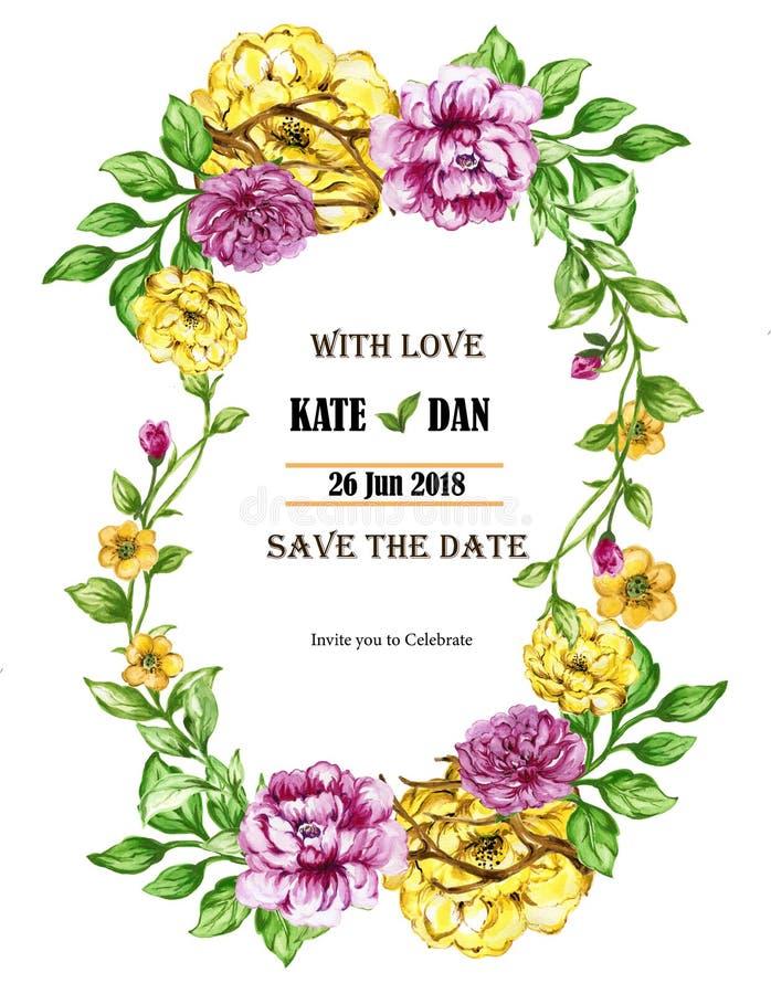 Botanic wedding card with flowers royalty free illustration