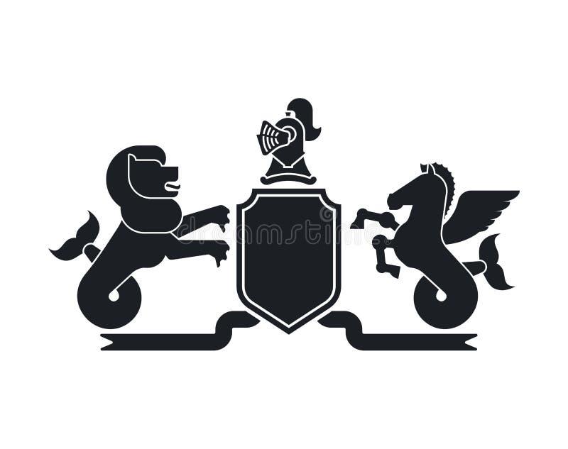 Otarie de bouclier et mer Pegasus et chevalier héraldiques Helmet Fant illustration de vecteur