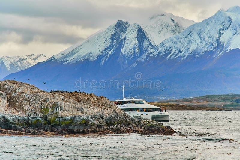 Otaries et un oiseau sur une petite île dans le canal de briquet Patagonia argentin en automne images libres de droits
