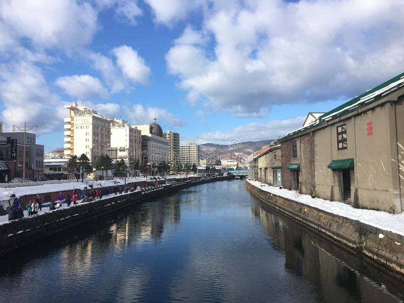 Otaru canal. Landmark of otari sapporo japan stock photo