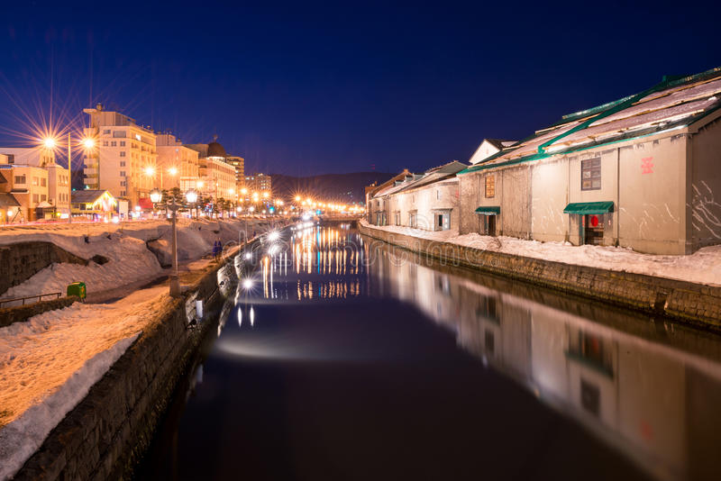 Otaru canal at night. Otaru canal in the winter at night, Hokkaido, Japan stock image