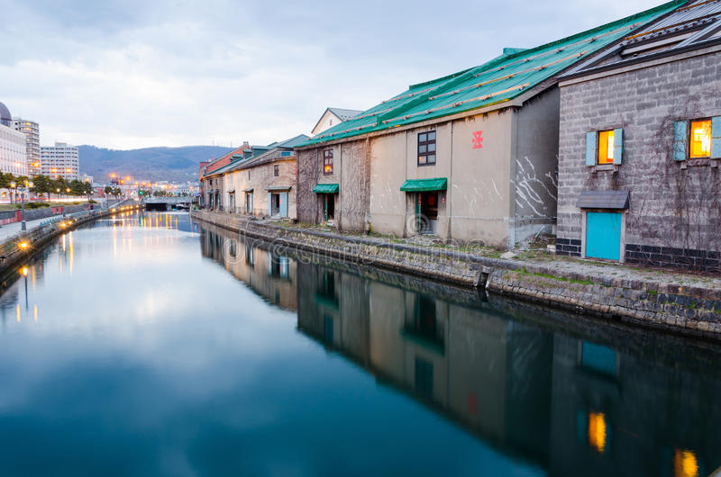 Otaru canal. Warehouses along the Otaru canal in Otaru city, Hokkaido, Japan royalty free stock photography