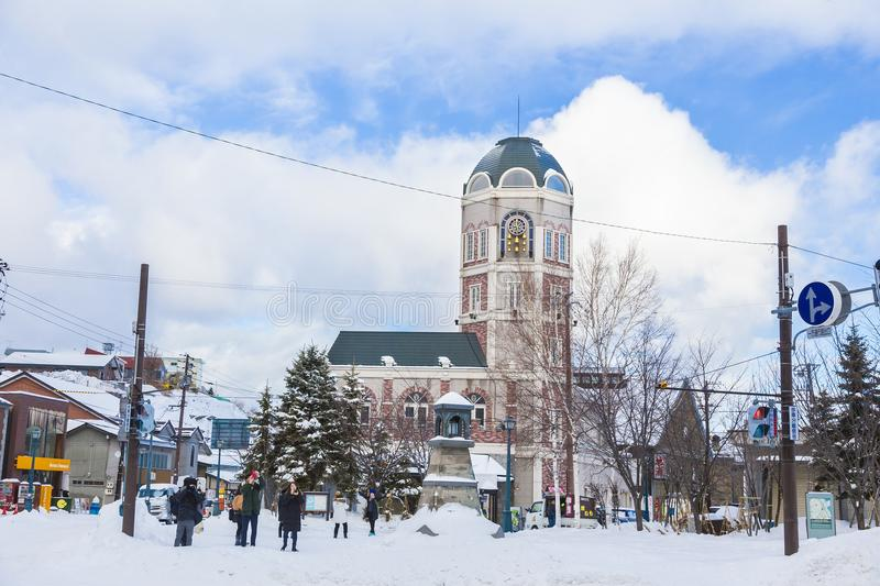 View of Le Tao Clock Tower in Otaru, Hokkaido, Japan on a bright. Otaru, Hokkaido, Japan - 30 December 2017 - Tao Clock Tower stands tall and gets ready to chime stock images