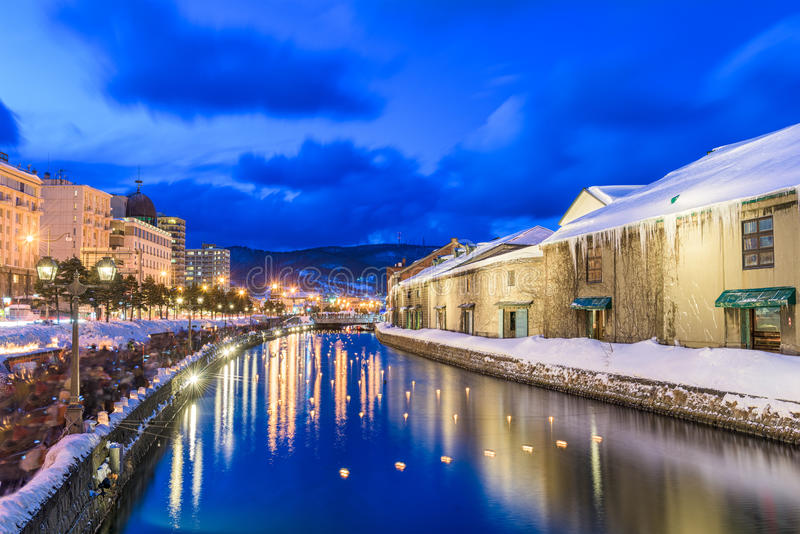 Otaru, Japan Winter Canal. Otaru, Japan historic canals during the winter illumination royalty free stock image