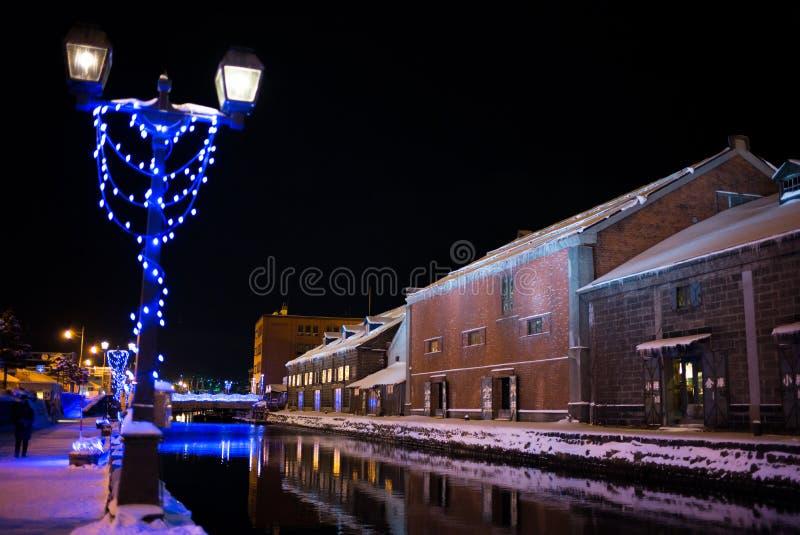 Otaru kanał w zimy nocy zdjęcia stock