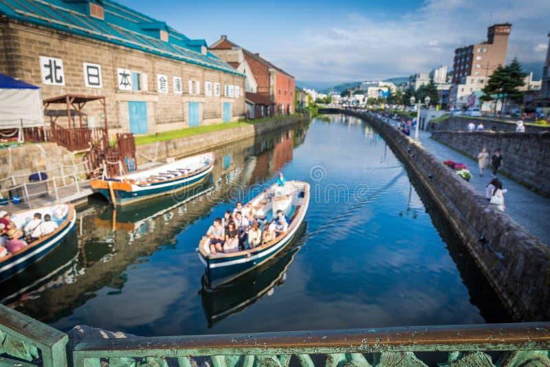 Otaru-Kanal-Boote und Gebäude stockfotografie