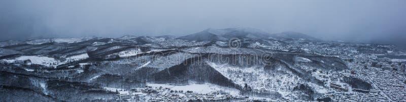 Otaru miasta widok od Tenguyama góry podczas zimy zdjęcie royalty free